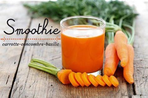 Smoothie carotte concombre basilic