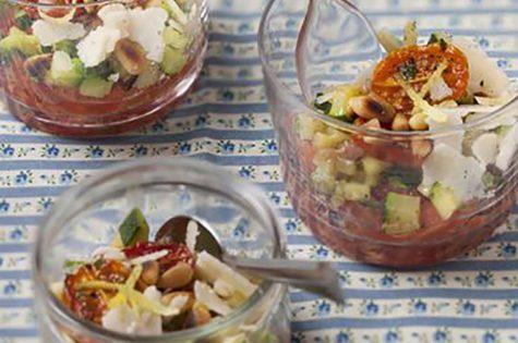 Verrines tomme d'Anjou, tomates et courgettes