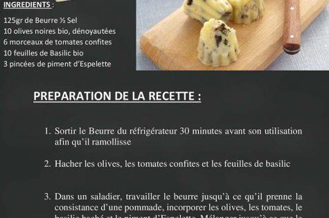 Beurre bio aromatisé au piment, olives et tomates